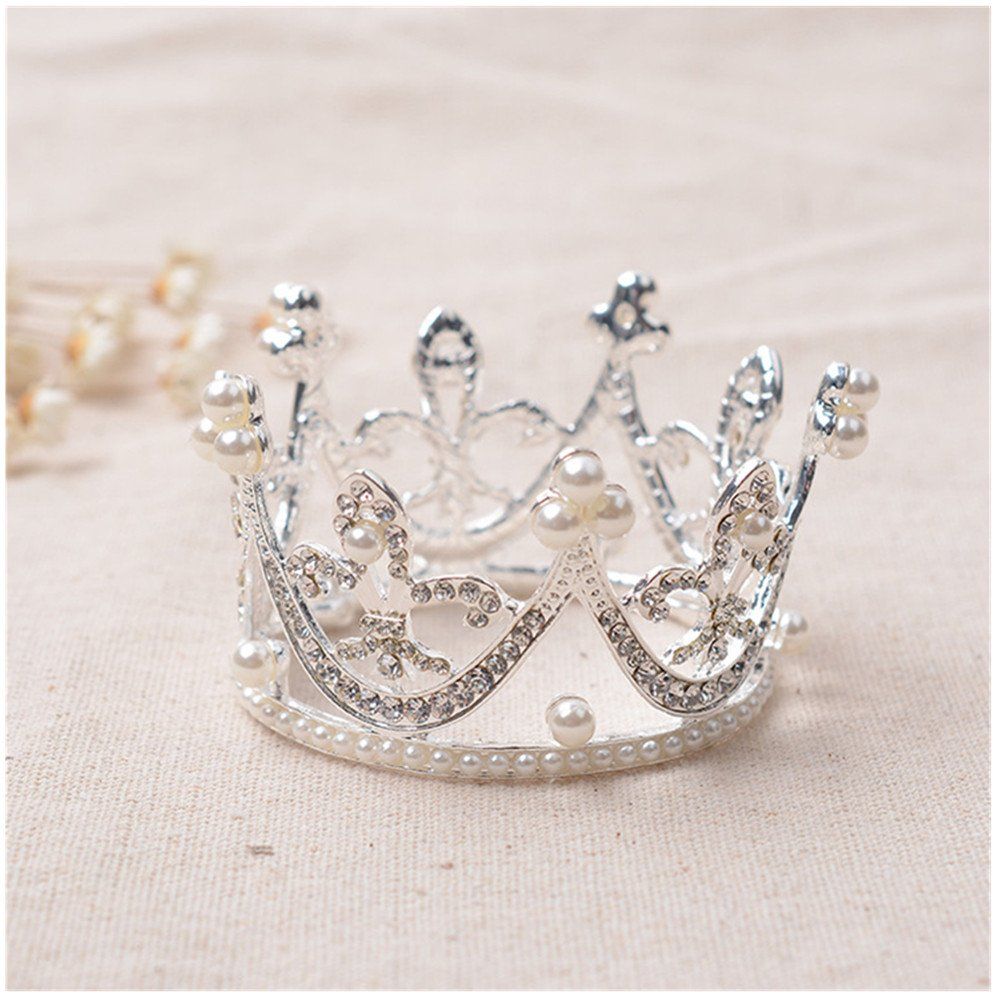 Toshow Children Girls Korean Round Rhinestone Crown Baby Princess Mini Pearls Hair Crowns Tiaras Headband (Type B)