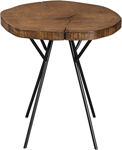 Coaster Home Furnishings Tree Trunk Slab Accent Table with Metal Legs Natural and Matte Black