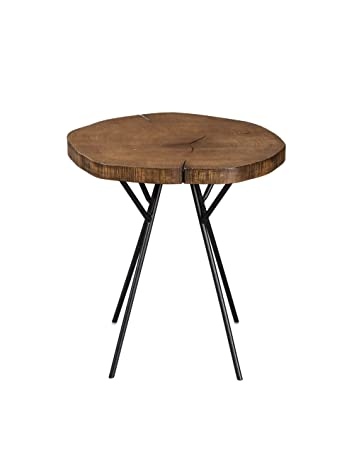 Scott Living Tree Trunk Slab Accent Table with Metal Legs Natural and Matte Black
