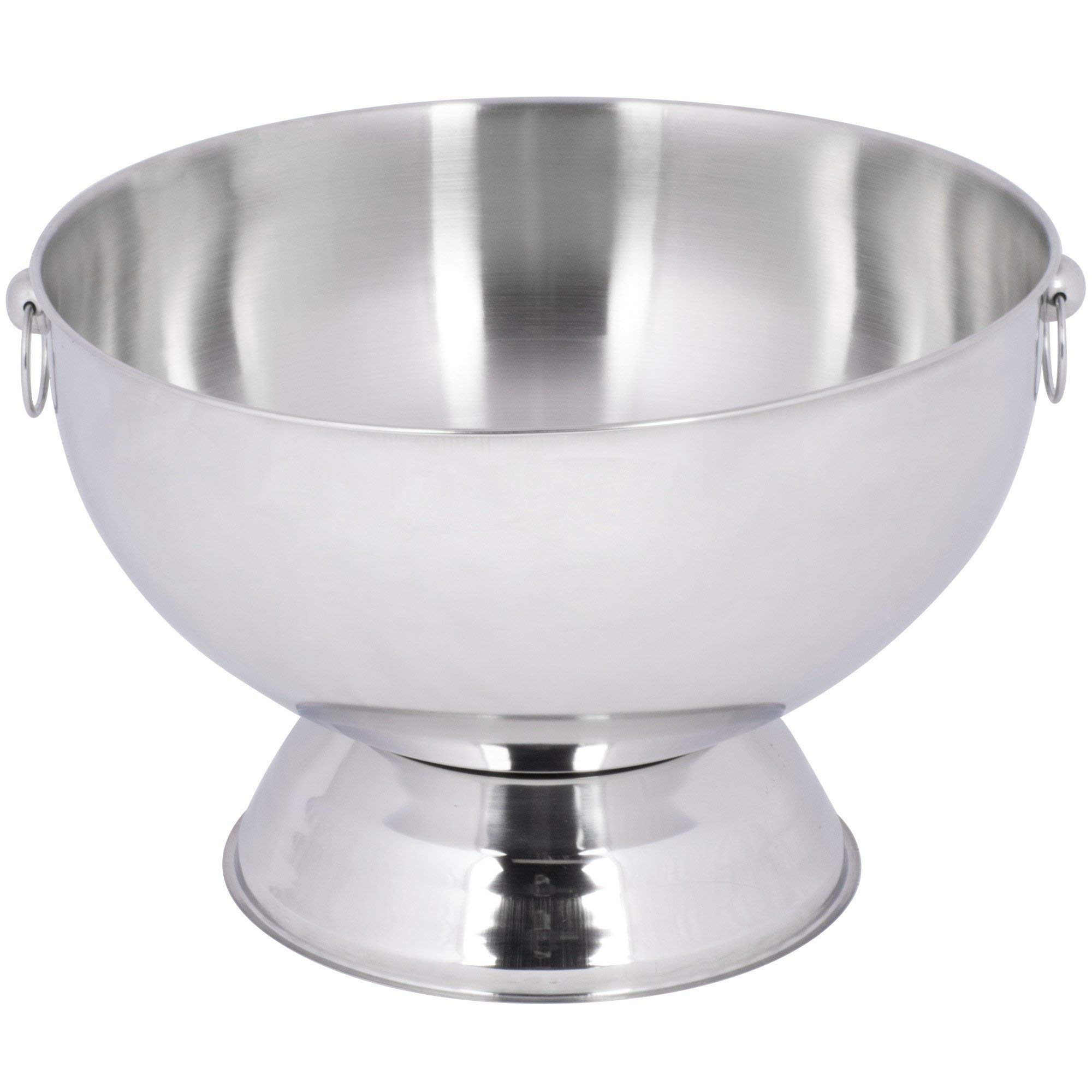 TableTop King 14 Qt. Stainless Steel Punch Bowl with Decorative Handle Rings and Mirror Finish
