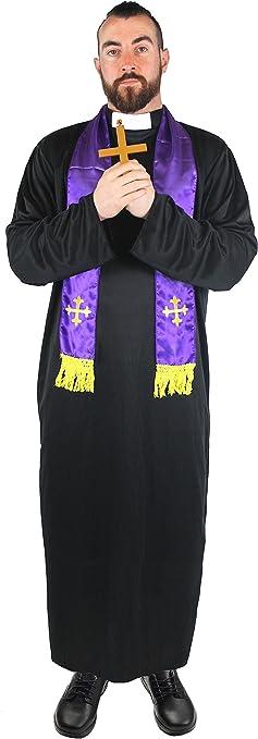 ILOVEFANCYDRESS - Disfraz para hombre de sacerdote (túnica y ...