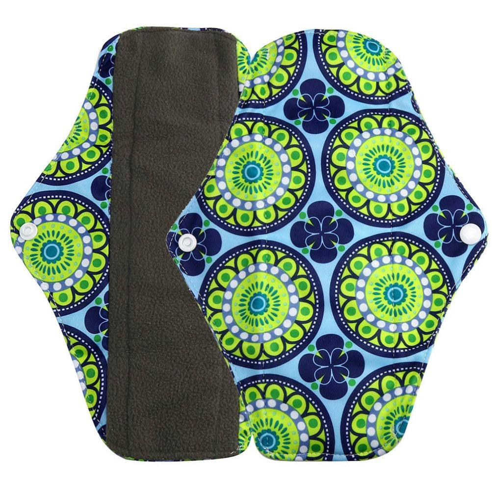 Sikye Cloth Menstrual Pads Reusable Sanitary Pads Overnight Charcoal Bamboo Panty Liners for Comfort and Support- 4 Colors and 3 Size (green, m)