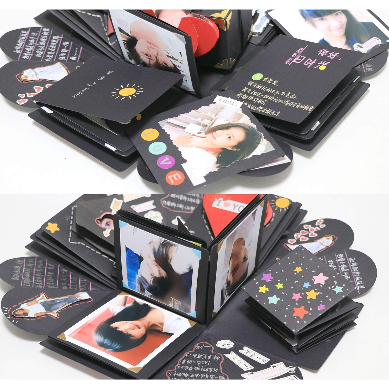Valentine WIMI Boite Explosion Creative Explosion Box DIY Boite Album-Photo Tutoriel Vid/éo de 30 Min et 12 Cartes Dr/ôles 15 Sortes DIY Daccessoires pour Anniversaire F/ête des M/ères Cadeau