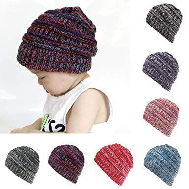 5ed708a51 PLOT❤Baby Cute Hat Cap Kids Boys Girls Color Mixture Knited Woolen Baby  Headgear: Amazon.co.uk: Clothing