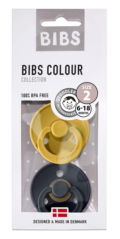 6-18 Monate Mustard//Dark Denim, Gr/ö/ße 2 BIBS Schnuller Colour 2er Pack d/änische Schnuller mit Kirschform Naturkautschuk
