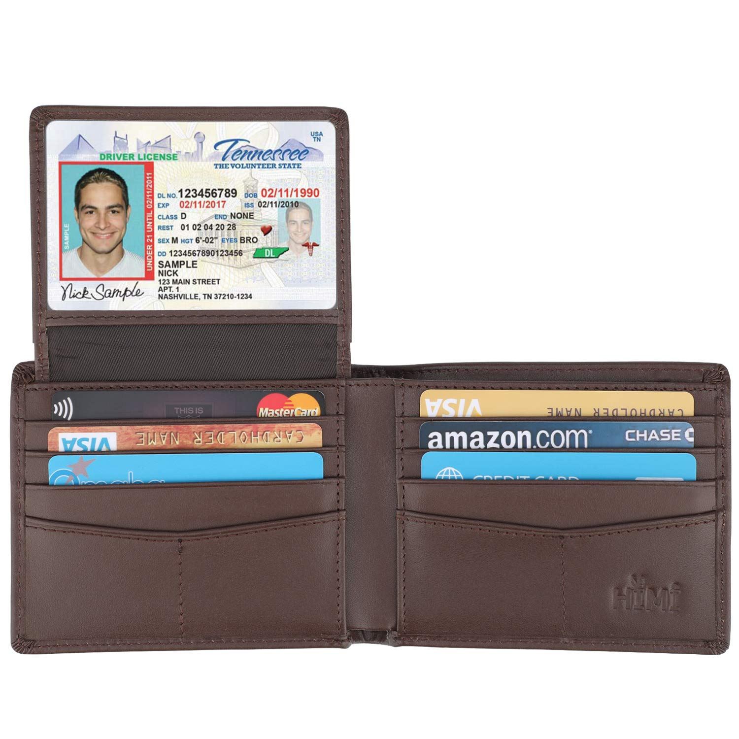Wallet for Men-Genuine Leather RFID Blocking Bifold Stylish Wallet With 2 ID Window (Coffee-Smooth Leather)