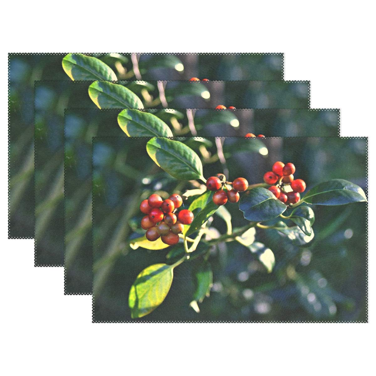JTMOVING Berry Berries Fruit Ripe Autumn Leaf Leaves Shrub Placemats Set Of 4 Heat Insulation Stain Resistant For Dining Table Durable Non-slip Kitchen Table Place Mats
