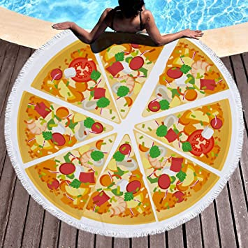 Pizza Toalla de playa grande redondo microfibra toalla de playa hippie boho playa manta Picnic pared Alfombra para yoga (150 cm 3: Amazon.es: Hogar