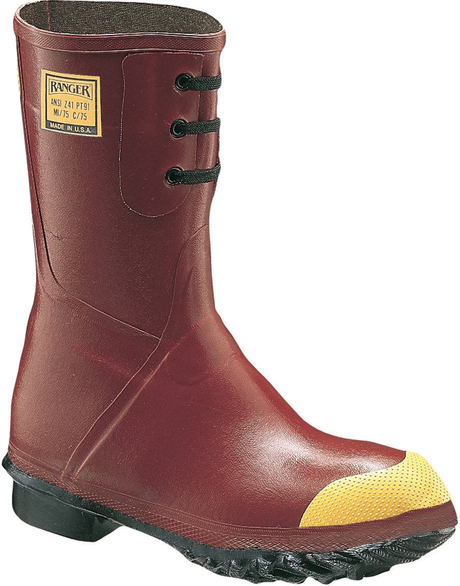 Ranger 12'' Heavy-Duty Polymeric Foam Insulated Men's Rubber Work Boots with Steel Toe, Red/Yellow & Black (6145)