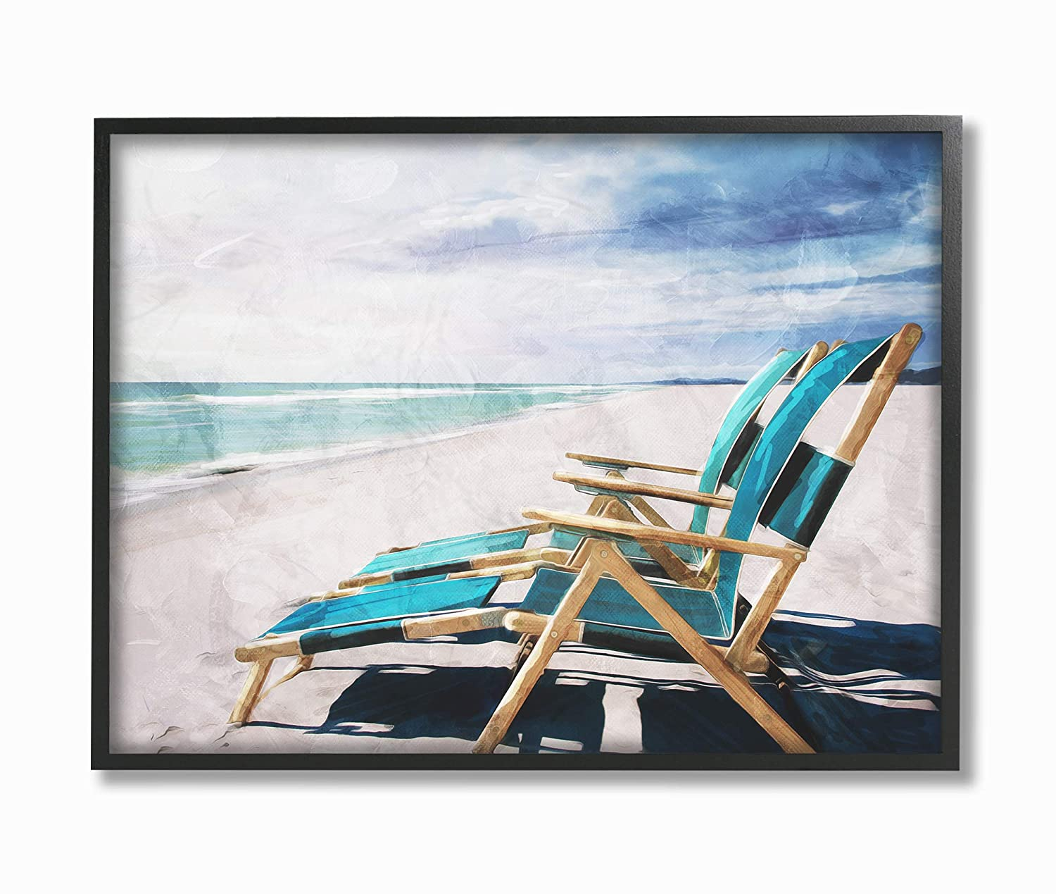 Multi-Color 13 x 19 The Stupell Home Decor Set of Teal Blue Chairs on The Beach Wall Plaque Art