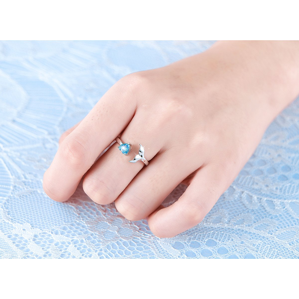 Amazon.com: S925 Sterling Sliver Dolphin Mermaid Tail Ring Cubic ...