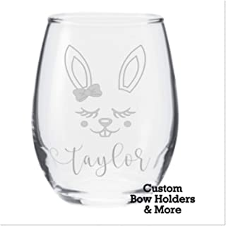 Engraved Easter Bunny Wine Glass, Personalized Easter Bunny Etched Stemless Wine Glass, Easter Host Gift, Funny Wine Glass, Easter Adult Gift, Gag Gift, Dishwasher Safe, Gift, 21oz
