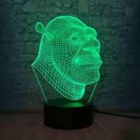 3D Lamp Shrek LED Table Night Light Illusion Atmosphere Luminaire with Remote Touch Sensor Light as Baby Sleeping…