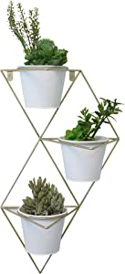 Admired By Nature, White Hanging Planter Vase and Geometric Wall Decor Container, Large, Brass