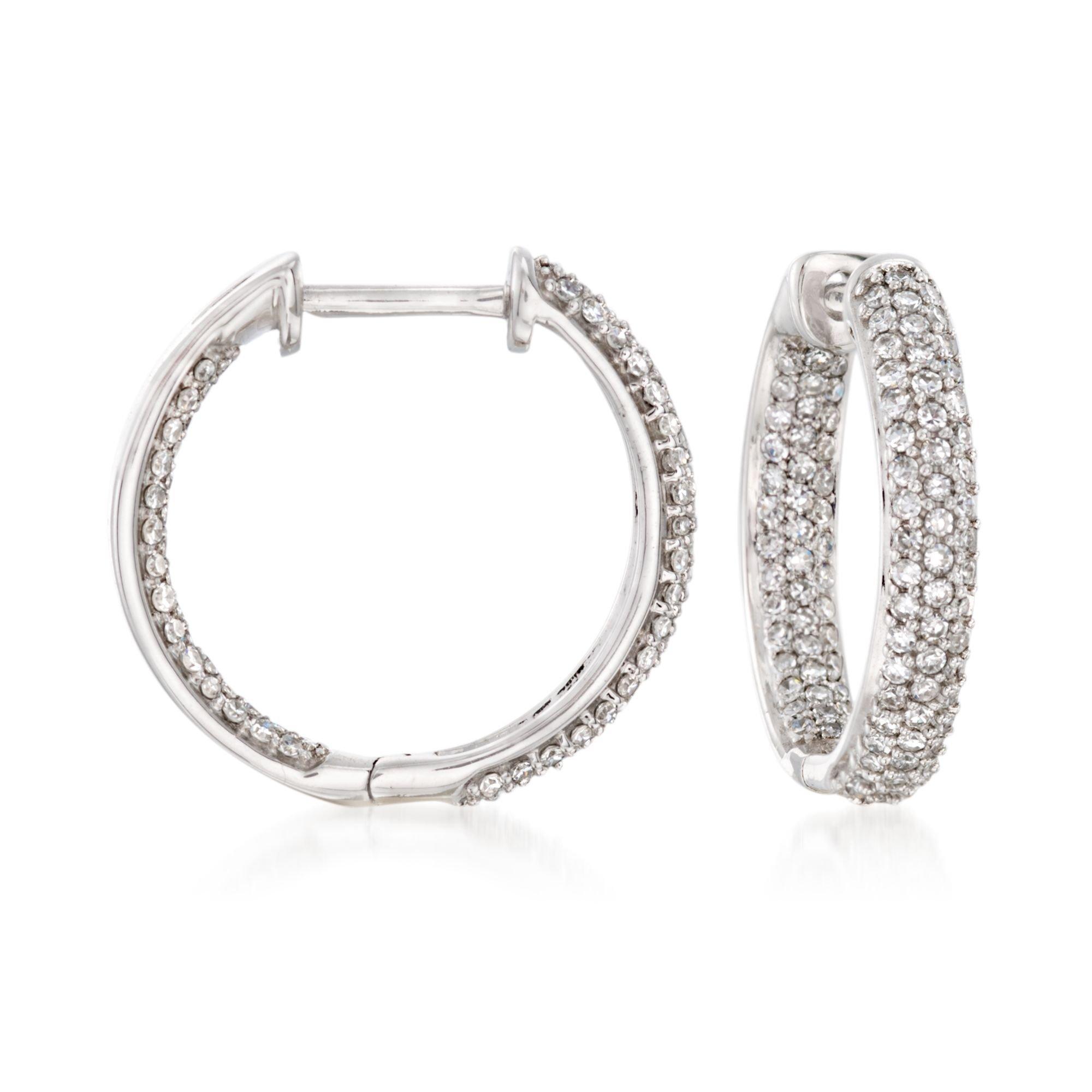 Ross-Simons 0.50 ct. t.w. Pave Diamond Inside-Outside Hoop Earrings in 14kt White Gold