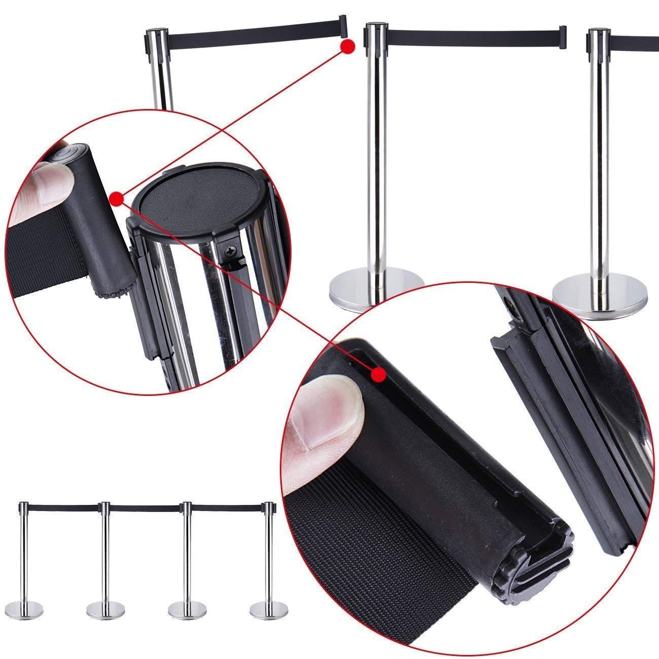 Iglobalbuy 4 X Acero inoxidable postes separadores con cinta extensible retr/áctil de multitudes con 2 M Correa