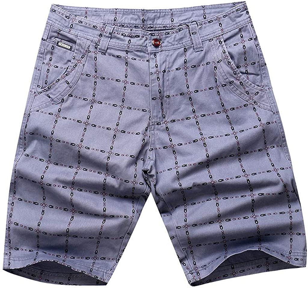 """DIOMOR Classic Plaid Slim Fit Cargo Shorts for Men 9"""" Inseam Casual Outdoor Knee Length Board Pants Comfy Hiking Trunks 
