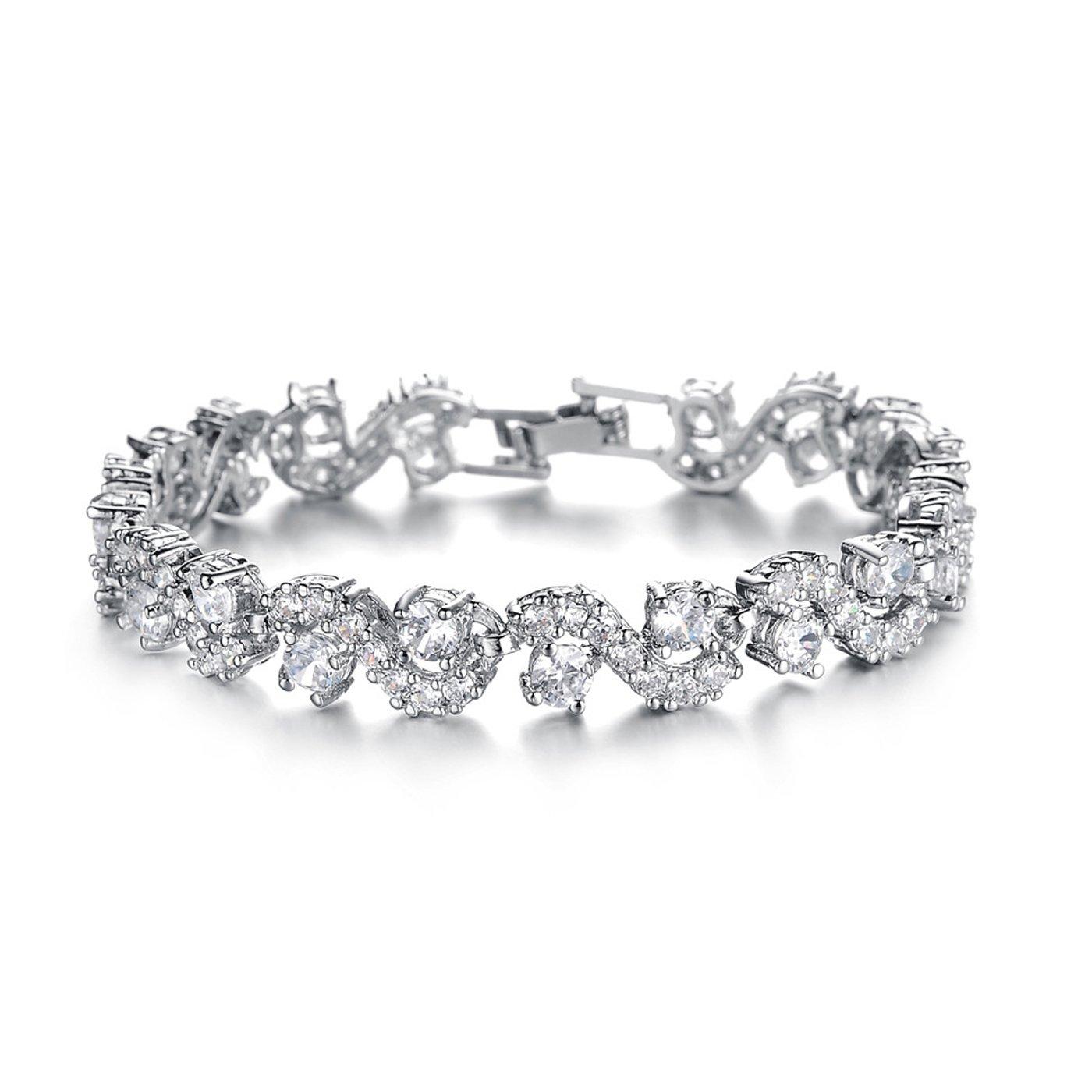 T-PERFECT LIFE 18K Platinum-plated Swarovski Element AAA Cubic Zirconia Bracelet for Women Elegent Crystals Wedding Jewelry (6.6 inch white)