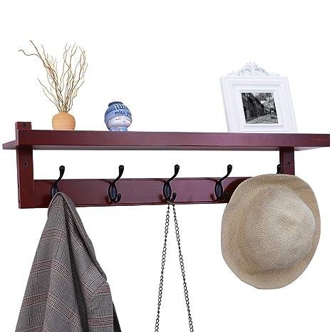 Homemaxs Coat Hook Shelf Coat Rack Shelf Wall Mounted Bamboo Entryway Shelf  Rack With 5 Alloy