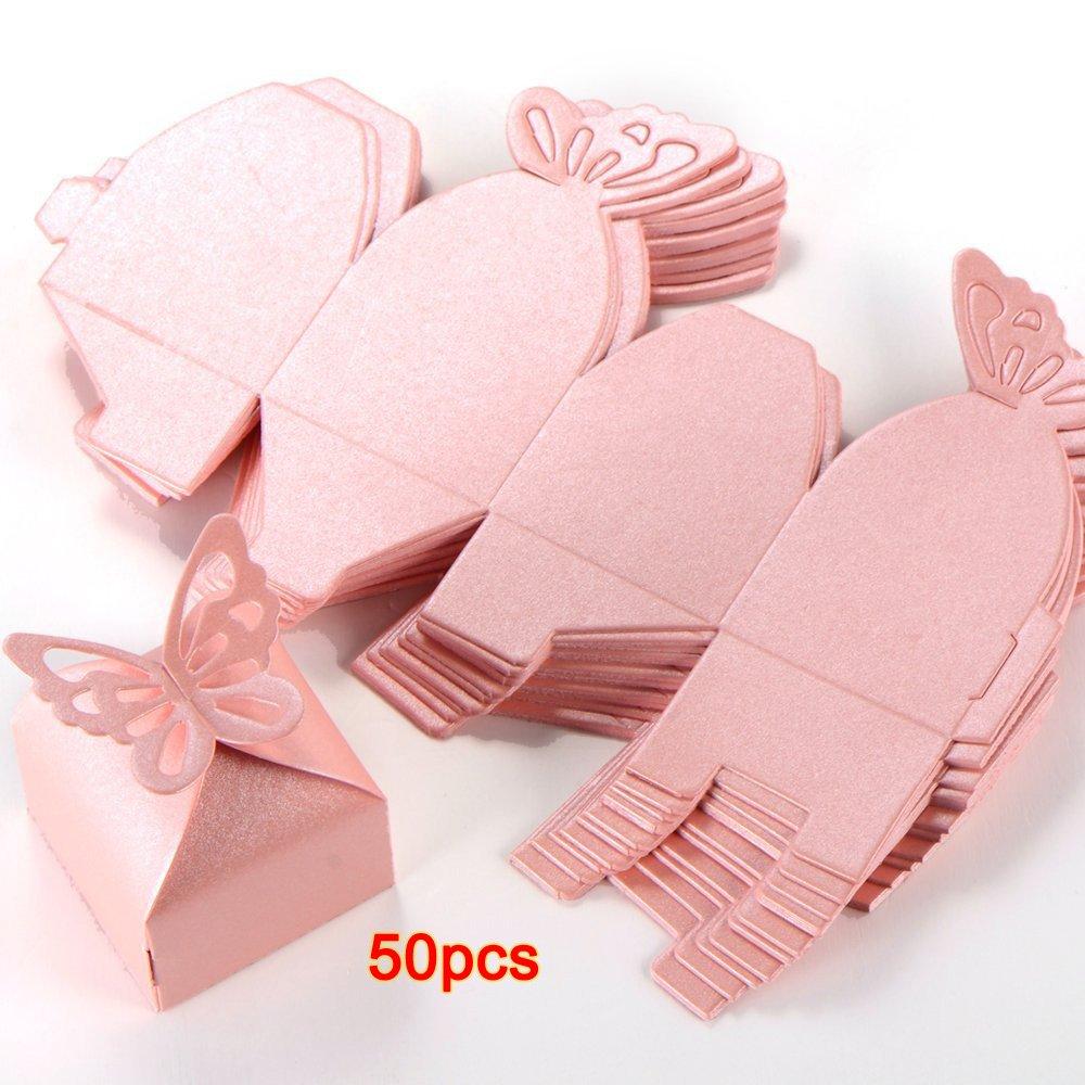 SODIAL (R) 50x Bomboniera scatola a farfalla rosa Accessori nozze tavola decorazione floreale Festa Battesimo SODIAL(R)
