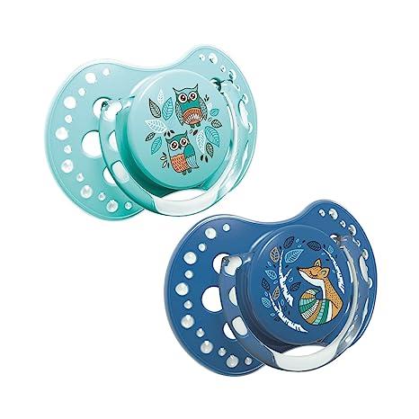 LOVI Folky - Pack de 2 chupetes dinámicos silicona, talla 0-3 meses, color azul/mint