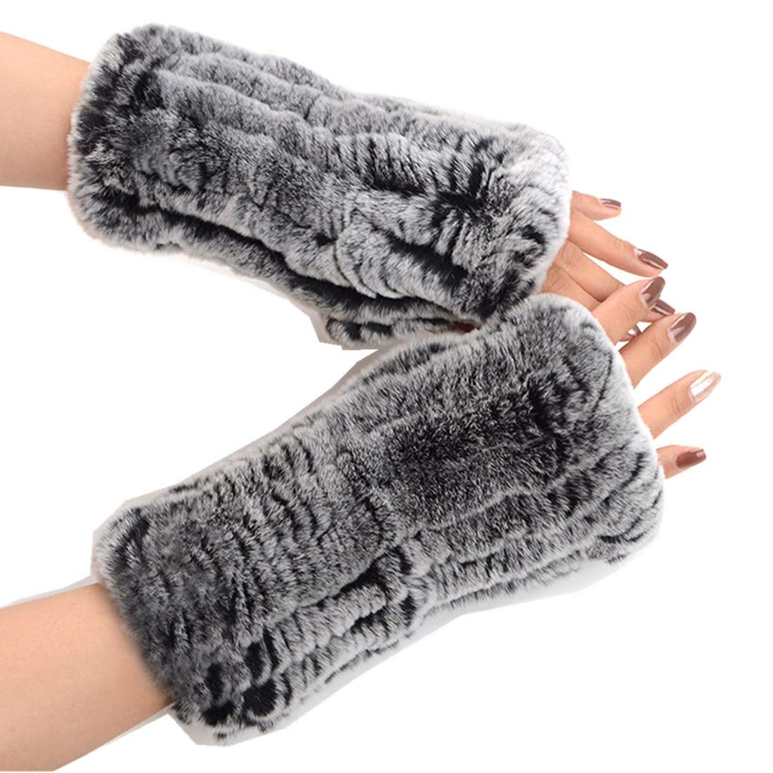 Winter Fake Fur Furry Fingerless Gloves for Women, Lengthened,Thicken,7 Colors(Grey)