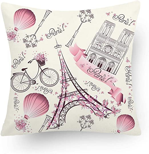AZSMILE Eiffel Tower Throw Pillow Covers,Home Decor Couch Cushion Case,Polyester Blend,18x18 Inch