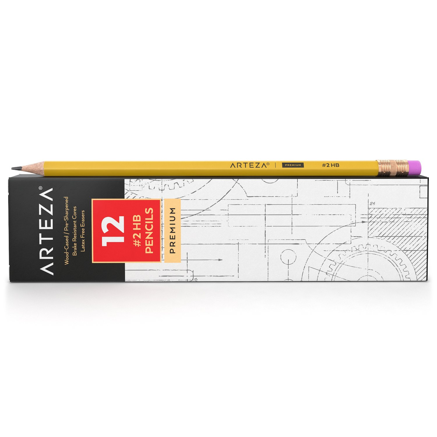 ARTEZA #2 HB Wood Cased Graphite Pencils Pack of 12 Drawing and Sketching Bulk School Pre-Sharpened with Latex Free Erasers Office Bulk pack Smooth write for Exams
