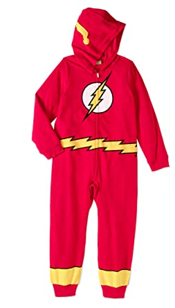 DC Justice League The Flash Childrens One Piece Sleeper Pajamas Union Suit (Extra Small)