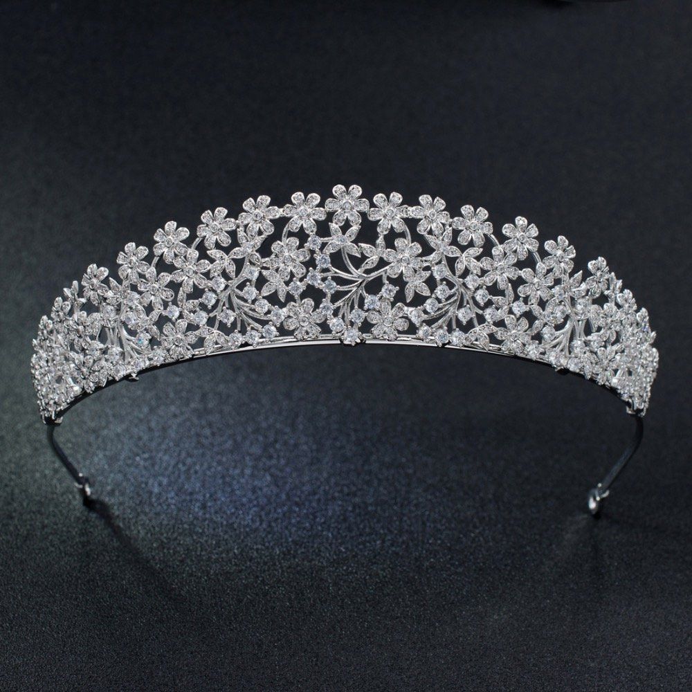 CZ Cubic Zirconia Crystals Princess Wedding Tiara Crown Bridal Women Hair Accessories Jewelry S16438
