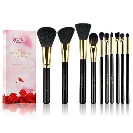 King Love Star Kit de Brochas Maquillaje 10 piezas Profesional Cerdas sintéticas y veganas Pinceles de maquillaje Fundación Polvo Sombra Set de ...