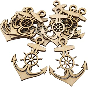 Fityle 10pcs Wood Gift Tags Blank Wooden Anchor Tags Wedding Hanging Decor Ornament Party Accessory