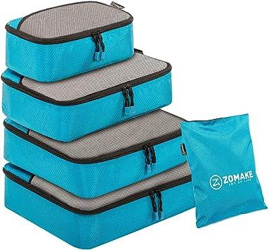 Blu Cubi da Imballaggio Valigia per Viaggiare Bagaglio ZOMAKE Set da 4 Organizer Valigie