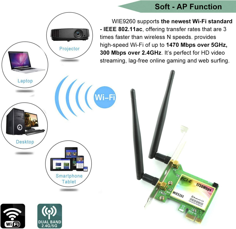 Model: WIE9260 Wireless 1730Mbps Desktop PCI-E WiFi Adapter PCi Express WLAN Network 9260 Card for 4G//5G Bluetooth 5.0