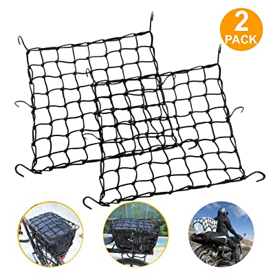 "2 Pack High Elastic 15"" Cargo Net with 6 Adjustable Metal Hooks for Motorcycle ATV, Super Strong Stretch Heavy-Duty Cargo Net: Automotive"