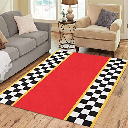 b1b32aa47673 Amazon.com: Pinbeam Area Rug Race Racing Flags Checkerboard Abstract ...