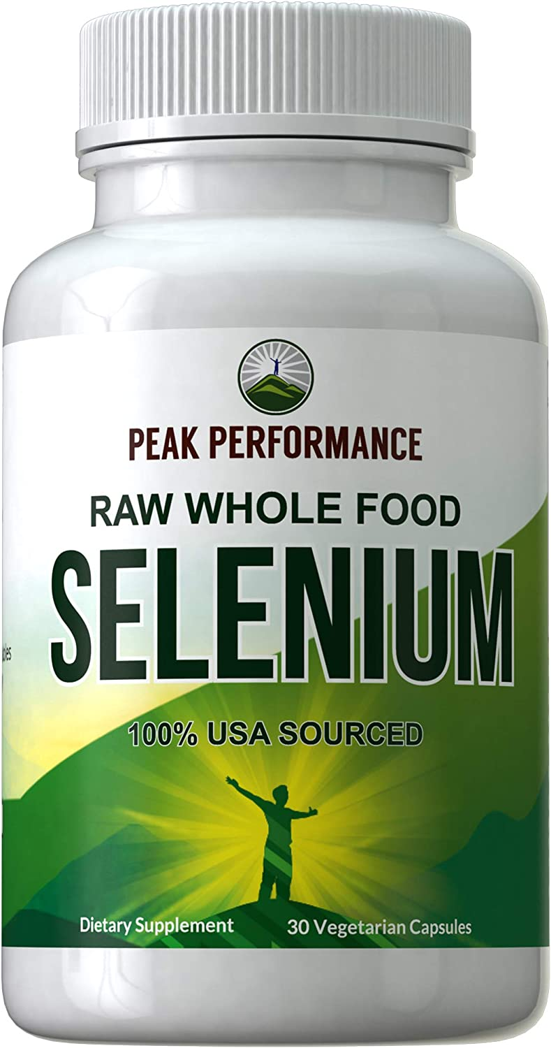 Raw Whole Food Selenium Supplement - Pure Selenium Vegan Capsules for Immune System, Thyroid Support, Heart Health, Prostate. Blended with 25 Organic Vegetables + Fruits. Superior Absorption 30 Pills