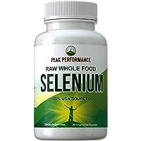 Raw Whole Food Selenium Supplement - Pure Selenium Vegan Capsules for Immune System...