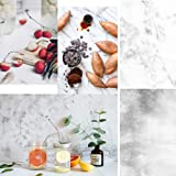 KonPon 32.6''X21.6''(83x55cm) Double-Sided White Marble Texture and Light Gray Cement Wall Pattern Background for Food Cake Cosmetics FruitsTabletop Photography Pictures GS-01