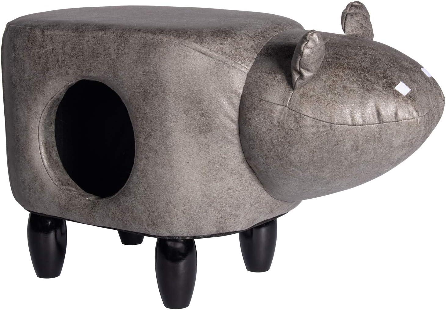 Funhobby Italia Srl Tiragraffi Pouf Struttura in Legno Imbottito poggiapiedi con cuccetta per Gatto Gatti Fantasia Animali Elephant