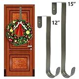 """GameXcel Wreath Hanger Over The Door - Large Wreath Metal Hook for Christmas Wreath Front Door Hanger 12"""" and 15"""" Brass - 2pcs"""