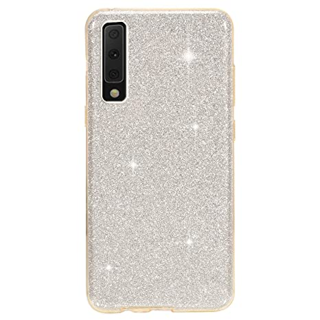 reputable site 1e2f5 e31e4 Surakey Cover Samsung Galaxy A7 2018, Custodia in Silicone Brillantini  Glitter Premium Ibrida Gel Case Antiurto Bumper [Design 3 in 1] Sottile PC  ...