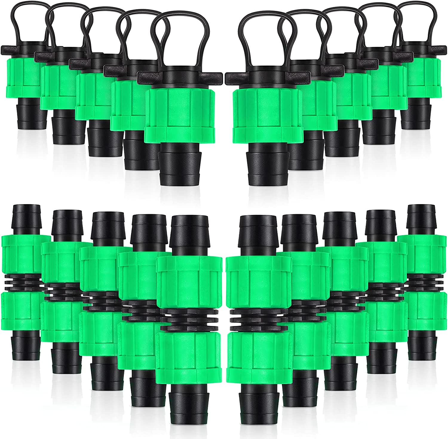 20 Pcs Drip Irrigation Coupling, Tubing End Cap Plug 1/2 Inch drip Irrigation Parts Universal Connector Compatible with Sprinkler Systems 16-17mm Drip Tape AG Tubing Drip