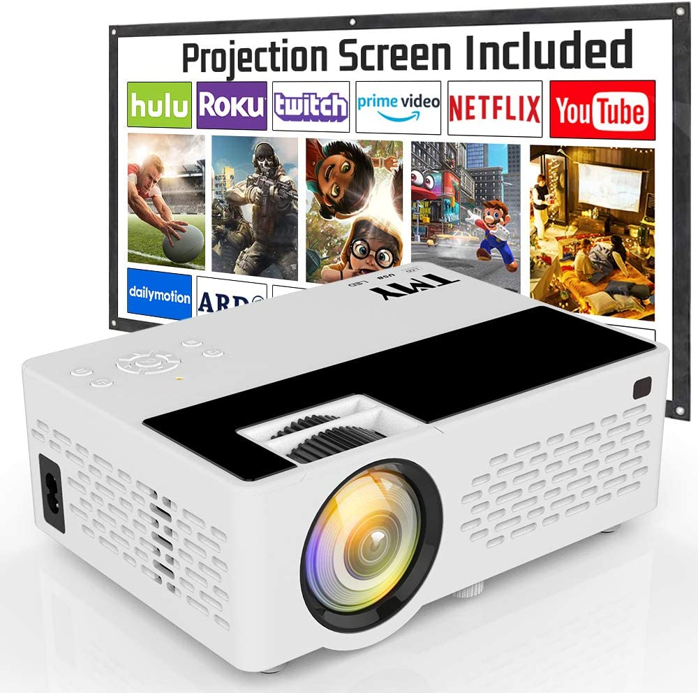 Projector, TMY HD Video Projector with Projection Screen, 4500 Lumen Mini Projector Supports 1080P Full HD, Movie Projector Compatible with TV Stick HDMI VGA USB TF for Home Cinema & Outdoor Movie.