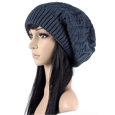 Chapeau Femme Tricot Laine Bonnet Femme Large pour Hiver Chaude  Amazon.fr   Vêtements et accessoires 2e15bd138df