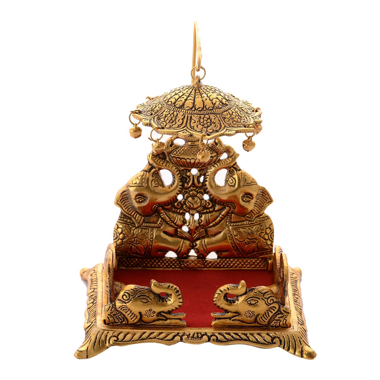 Rockshok Krishna Ladoo/Laddu Bal Gopal Metal Singhasan, Religious Puja Gifts and Decor, Showpiece (7 x 5.5 x 4.5 inch, Gold)