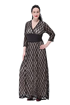 Preferhouse Maxi Long Dress Plus Size Lace Evening Gown Sleeves At