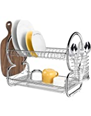 Homdox 2 Tier Stainless Steel Chrome Kitchen Dish Rack Drainer Board Set Dish Drying Rack 17L x 10W x 15H Inches