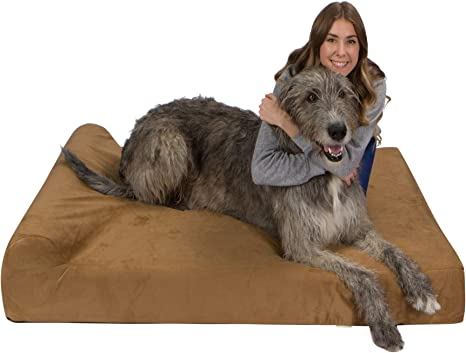 Amazon Com Ultimate Luxury 7 Inch Gel Memory Foam Orthopedic Dog Bed With Bolster Lucky Dog Provides Large Dogs Support Comfort Tan Microsuede Mammoth Xxxl 60 X 48 X