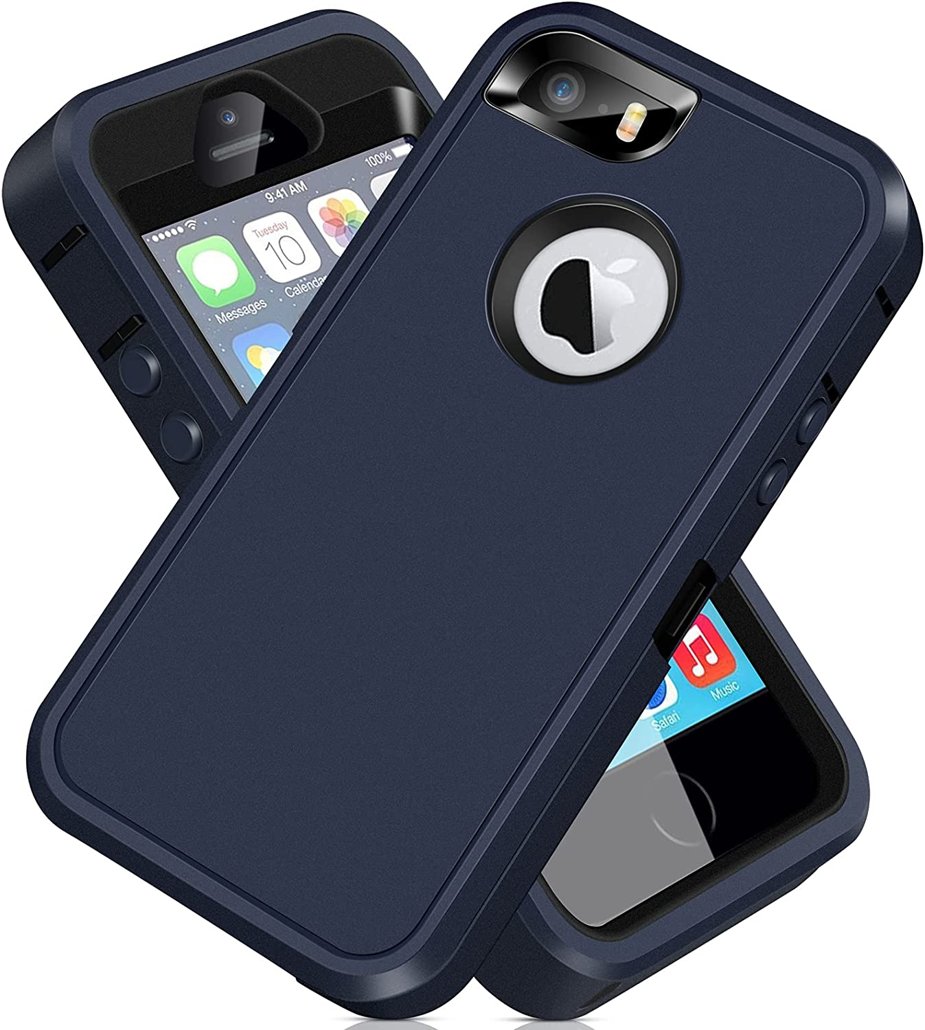 iPhone 5S Case, iPhone SE 2016 Case ACAGET iPhone 5 Case Heavy Duty Protective Armor Shock-Absorbing Dual Layer Rubber TPU + PC Cover Non-Slip Bumper Phone Cases for iPhone 5S/SE/5 (Dark Blue/Black)